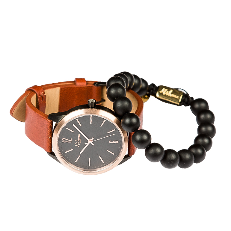 Classic Delux Black/Rosegold Ur + Frosted Agate armbånd
