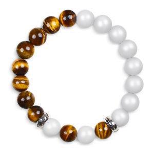 Classic Hvid og Tigereye Armbånd til kvinder