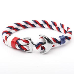 Blåt, hvidt og rødt nylon armbånd med anker i rustfrit stål